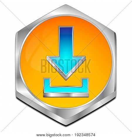 orange blue Download button - 3D illustration