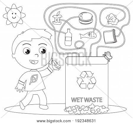 Educational game about recycling: what is organic waste? Coloring vector illustration.