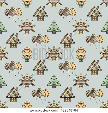 Vector Hand Drawn Seamless Pattern, Decorative Stylized Childish House, Tree, Sun, Cloud, Rain Doodl