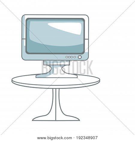 tv table technology entertainment screen device vector illustration