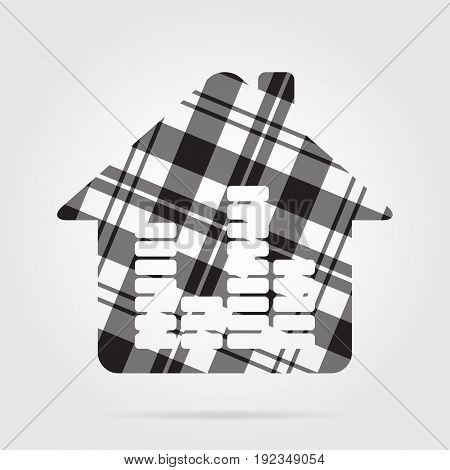 grayscale gray black isolated tartan icon with white stripes - house with equalizer and shadow in front of a gray background