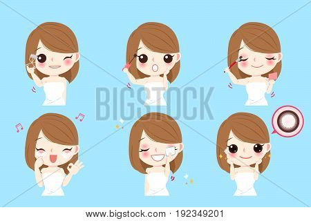 cartoon beauty woman with eye beauty concept on blue background