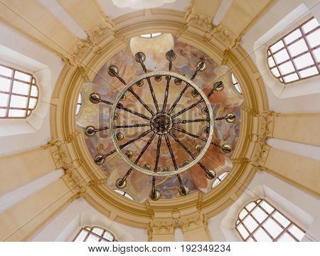 KRTINY, CZE - 15th JUNE 2017. Ceiling painting in the monastery in Krtiny Czech Republic. Virgin Mary Baroque monument. Architecture Jan Santini Aichel. Church monastery in Krtiny Czech Republic.