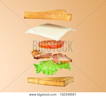 Fresh sandwich with flying ingredients isolated on beige background. concept