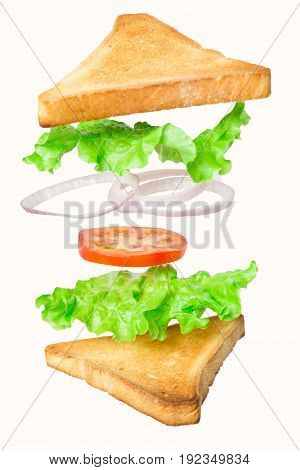 Fresh vegetarian sandwich with flying ingredients isolated on white background. concept. vertical