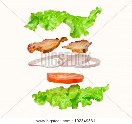 Fresh sandwich in salad leaves with flying ingredients isolated on white background. concept