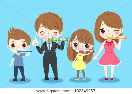 cute cartoon family with tooth health concept on the blue background