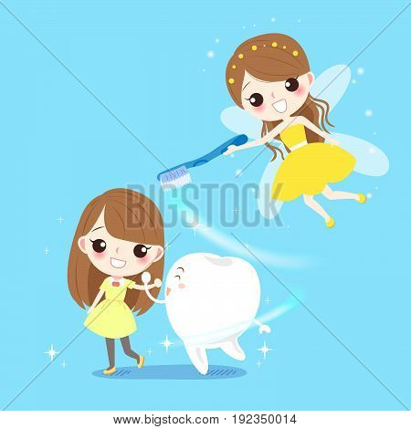 cute cartoon girl with tooth fairy on the blue background
