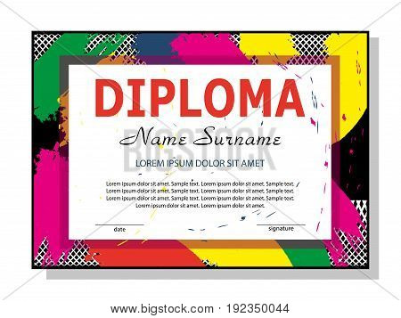 Template diploma or certificate. Modern colorful design. Vector illustration.