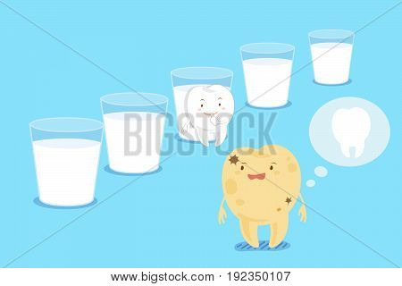 cute cartoon decay tooth with milk on the blue background