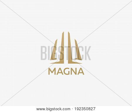 Abstract basis business logo design. Premium real estate finance logotype. Universal line vector icon.