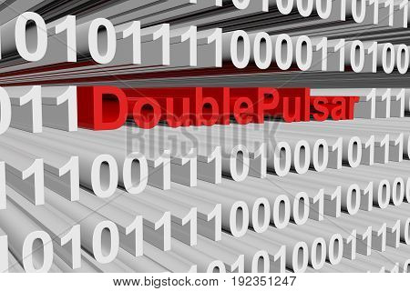 DoublePulsar in the form of binary code, 3D illustration