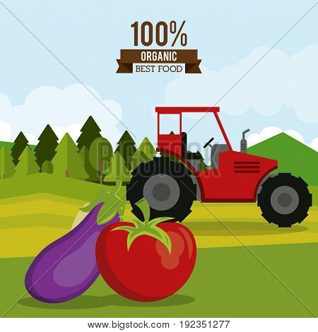 colorful poster of organic best food with tractor in outdoor landscape and tomato and eggplant vector illustration