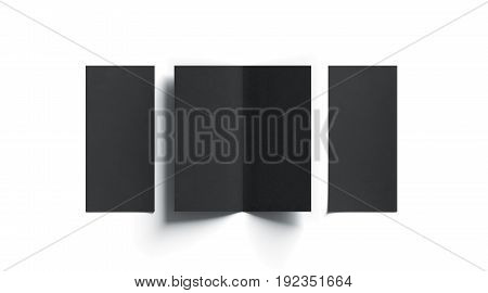 Blank black two folded booklet mock up opened and closed front and back side top view 3d rendering. Plain twofold brochures mockups set isolated. Book cover and flier inside copy space.