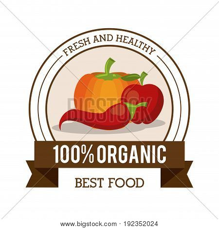 colorful logo of fresh and healthy organic food with chilli pumpkin and apple vector illustration