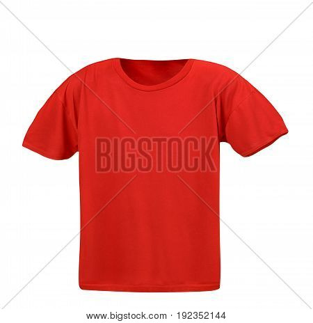 A blank red T-shirt on a white background