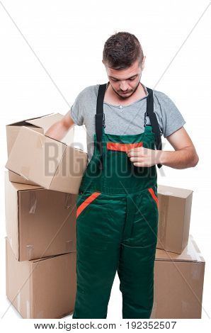 Handsome Mover Guy Holding Box Arranging  His Overall