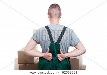 Back View Of Mover Guy Showing Thumbs Up
