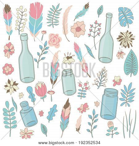 Set of hand drawn borders garlands flowers cages arrows. Hand drawn lamps lanterns flags. Plants leaves. Used brushes included.