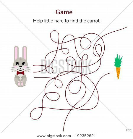 vector illustration. game for children. maze or labyrinth for kids. cartoon cute hare and carrot. tangled road.