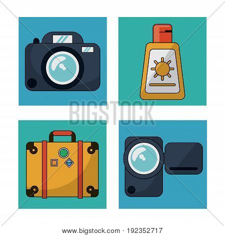 white background with colorful squares with utilities for traveling vector illustration