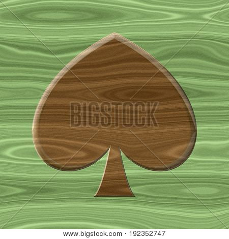 Wooden desk with 3d leaf symbol natural eco nature concept