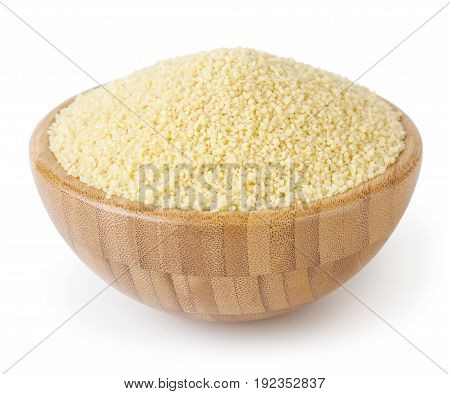 Couscous in wooden bowl isolated on white background with clipping path