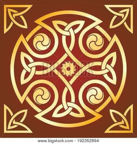Celtic national ornament in the shape of a cross. Gold pattern on a brown background.