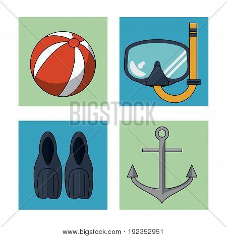 white background with colorful squares with elements beach vacation vector illustration