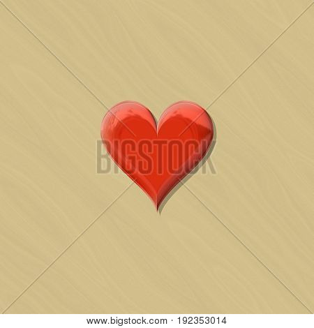 Red plastic 3d heart shape in stamp sealing wax colors on beige background
