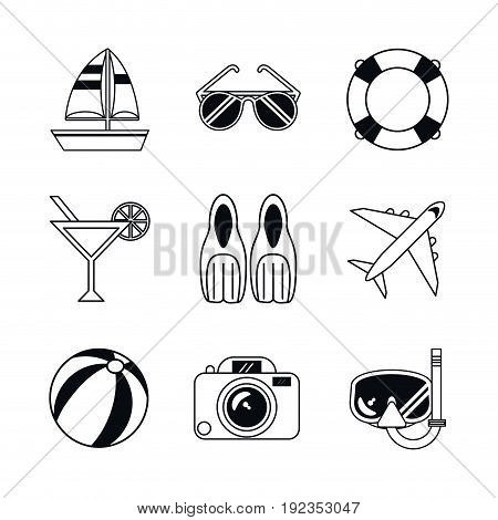 white background with monochrome icons beach vacation vector illustration