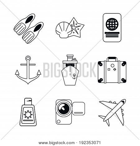 white background with monochrome graphics set of beach vacation vector illustration
