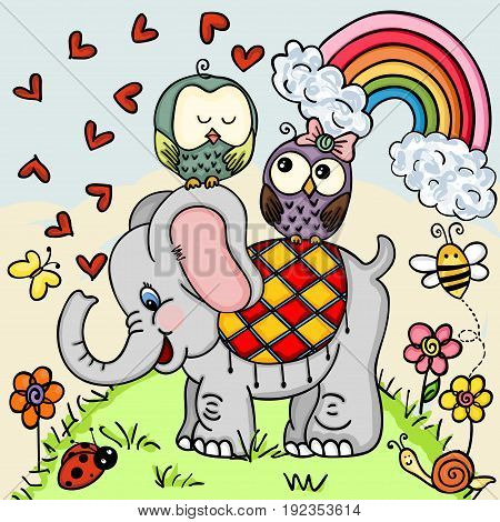 Cute elephant and couple owls on nature background