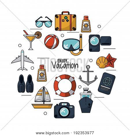 white background of enjoy vacation with set icons for traveling and vacations vector illustration