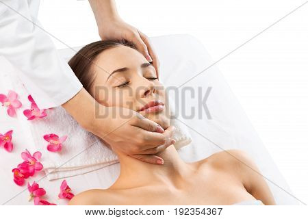 Relaxing hand massage body care closed eye spa woman woman spa horizontal
