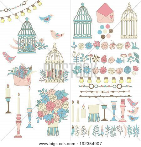 Cute invitation card contains set of hand drawn borders garlands flowers cages arrows. Hand drawn lamps lanterns flags. Plants leaves. Used brushes included.