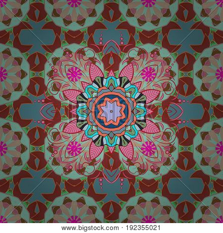 Colorful colored tile mandala on a background. Intricate floral design element for sketch gift paper fabric print furniture. Boho abstract seamless pattern. Unusual vector ornament decoration.