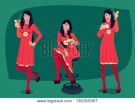 Set Of Girl With Cocktail In Different Poses
