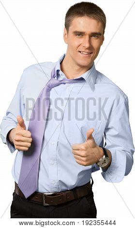 Business young man businessman showing thumbs up looking at camera