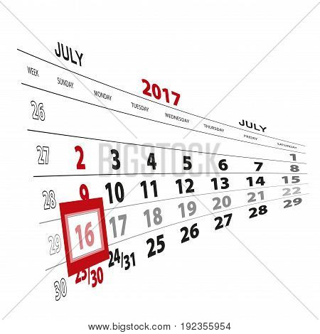 July 16, Highlighted On 2017 Calendar.