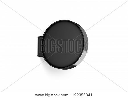 Blank black round store signage design mockup isolated 3d rendering. Empty circular light box mock up. Clear shop lightbox template. Street sign hanging mounted on the wall. Signboard for logo
