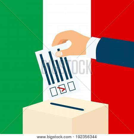 Election in Italy. Male hand putting voting paper in a ballot box with italian flag on a background, flat design, vector illustration