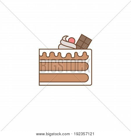 Chocolate layer cake with topping, chocolate bar, cherry and cream, outline icon