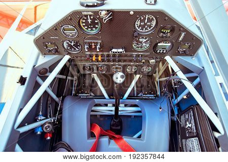 Salon with the instruments of a sports aircraft with a pre-flight.