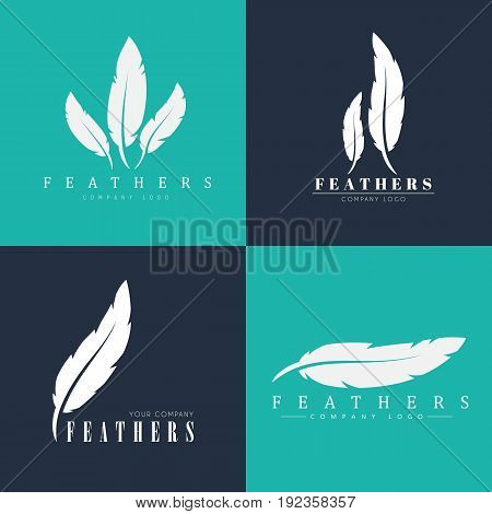 Design of logo with feathers. Templates for writers book publishers and businesses. Vector illustration. Set
