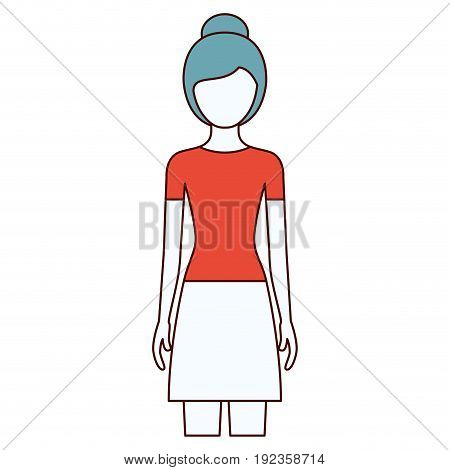 color sections silhouette faceless front view woman with skirt and collected hairstyle vector illustration