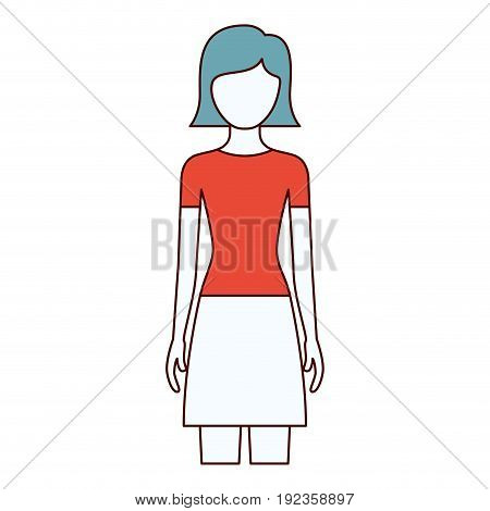 color sections silhouette faceless front view woman with skirt and short straight hairstyle vector illustration