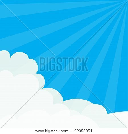 Sun light rays burst. Blue sky. Sunshine Fluffy Cloud in corners frame template. Cloudshape. Cloudy weather. Flat design. Background. Vector illustration
