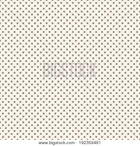 Vector seamless pattern. Simple minimalist monochrome geometric texture with tiny smooth outline squares. Abstract repeat background. Design element for prints, digital, fabric, cloth, package, covers.