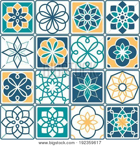 Portuguese tiles pattern - Azulejo, seamless geometric design collection in yellow and turquoise